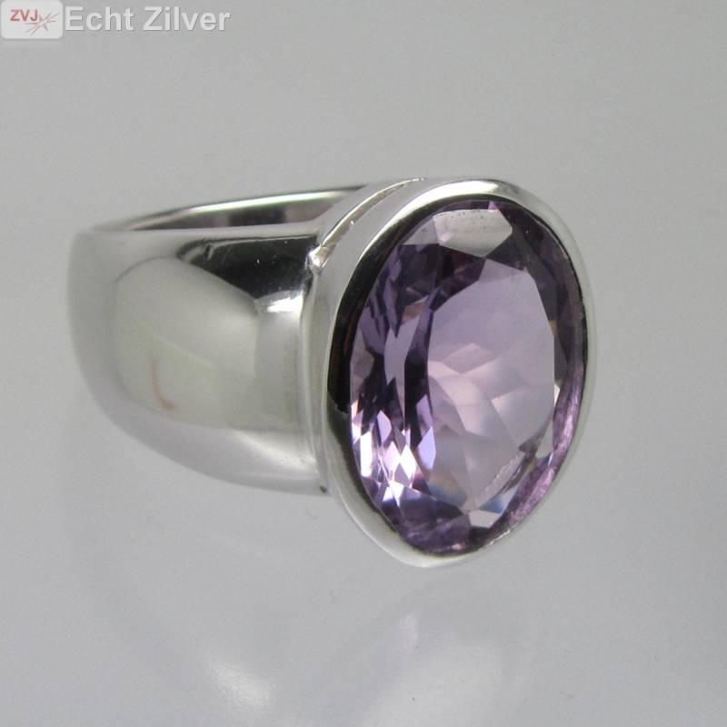 Zilveren rhodium paarse amethist ring-2