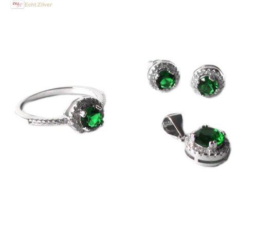 ZilverVoorJou Zilveren groen witte Diana zirkonia set ring hanger oorbellen