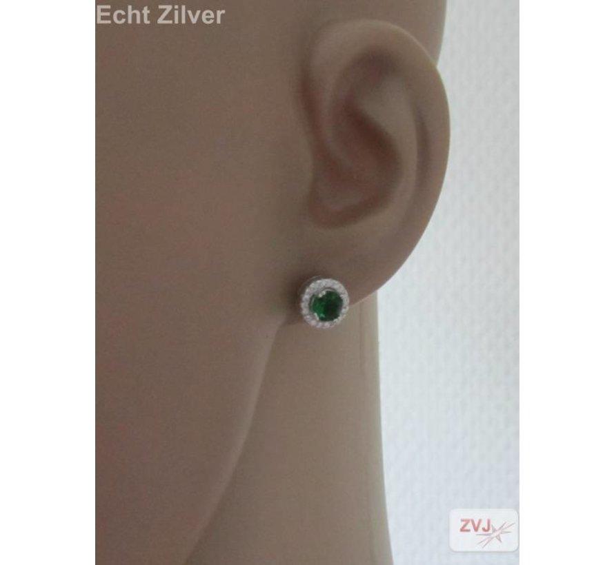 Zilveren groen witte Diana zirkonia set ring hanger oorbellen