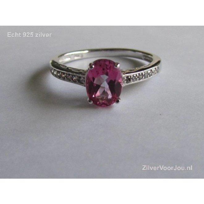 Zilveren roze tourmalijn edelsteen ring