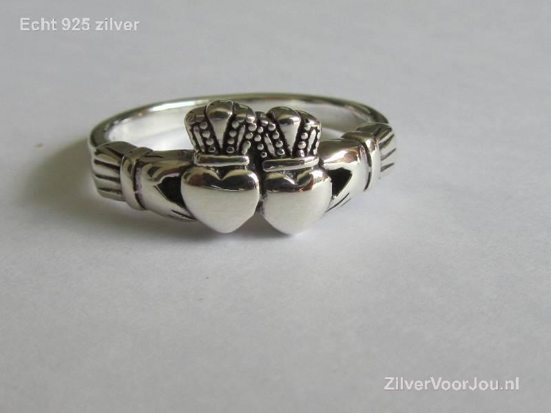 OUTLET Zilveren dubbel hart keltische claddagh ring-2