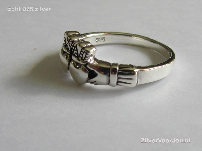 OUTLET Zilveren dubbel hart keltische claddagh ring-3