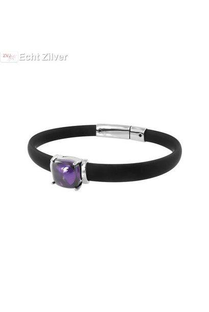 Zwart rubberen armband zilver element amethist cz