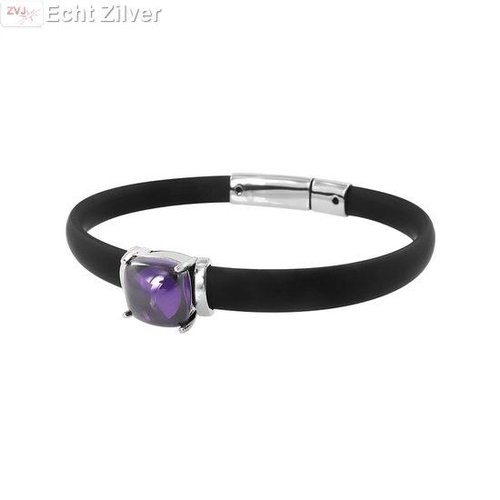 New Bling Zwart rubberen armband zilver element amethist cz