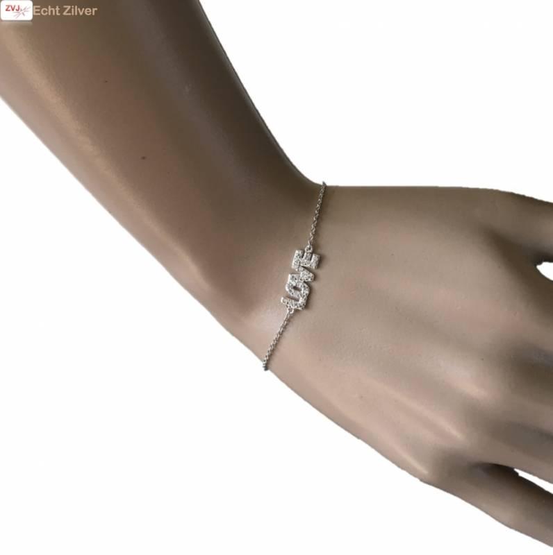 Zilveren Armband LOVE Wit CZ 17+3CM rhodium New Bling-1