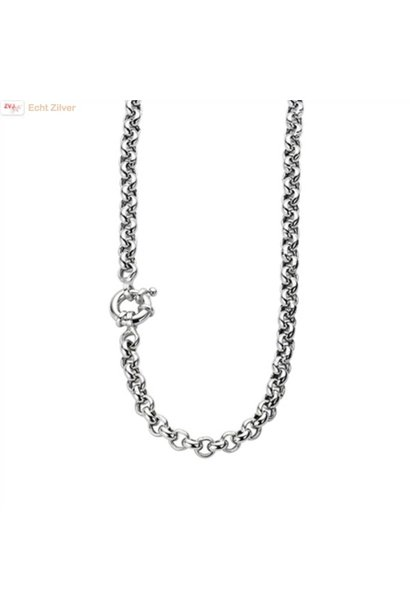 Zilveren collier Jasseron 6mm 44cm rhodium New Bling