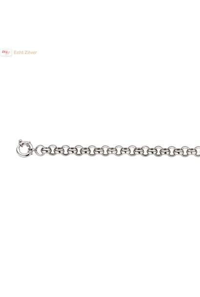 Zilveren armband Jasseron  6 mm 20 cm rhodium New Bling