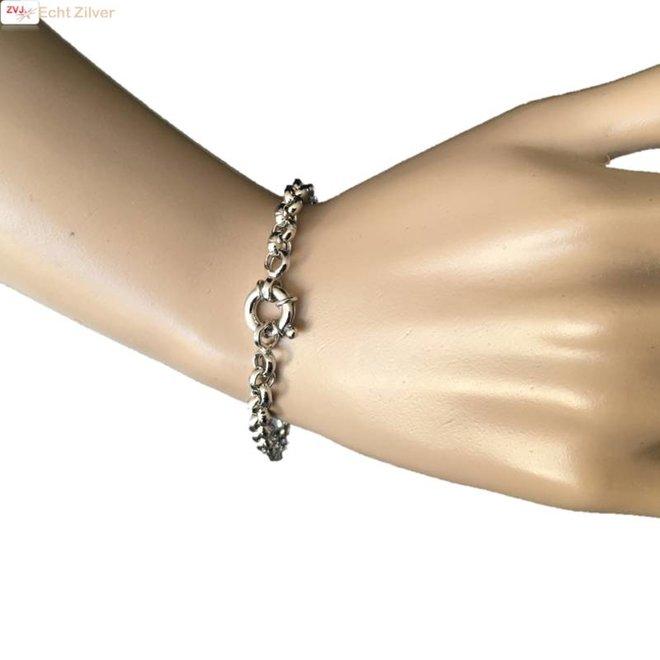 Zilveren armband Jasseron  6 mm 20 cm rhodium New Bling