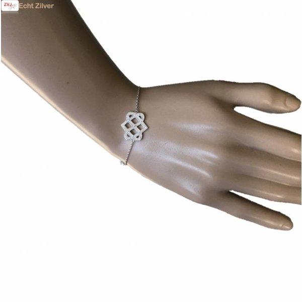 Zilveren Armband fantasie cz 17+3CM rhodium New Bling