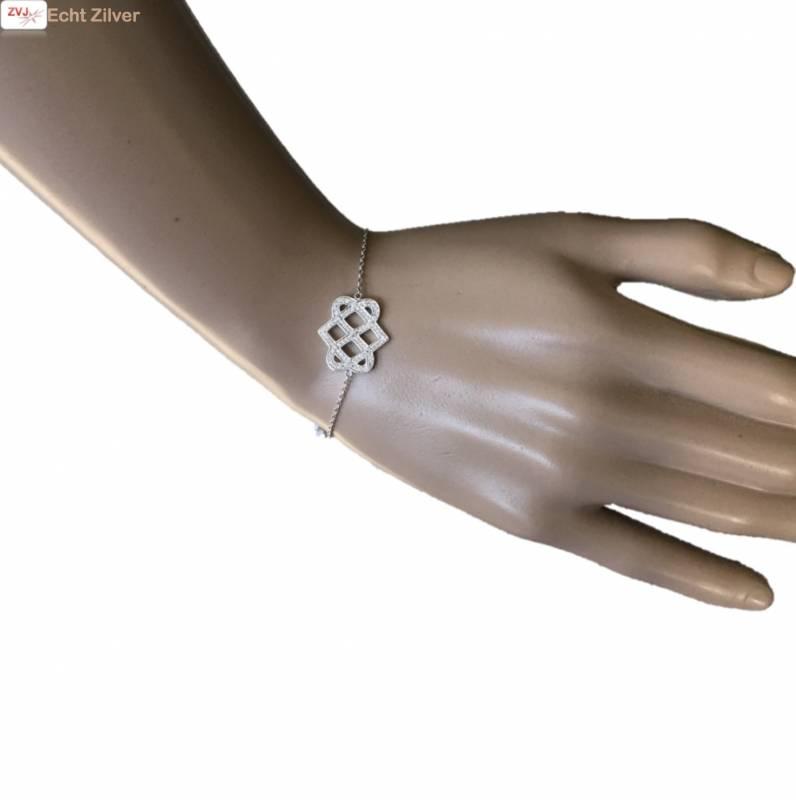 Zilveren Armband fantasie cz 17+3CM rhodium New Bling-2