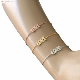 New Bling Zilveren Armband LOVE Wit CZ 17+3CM rhodium New Bling