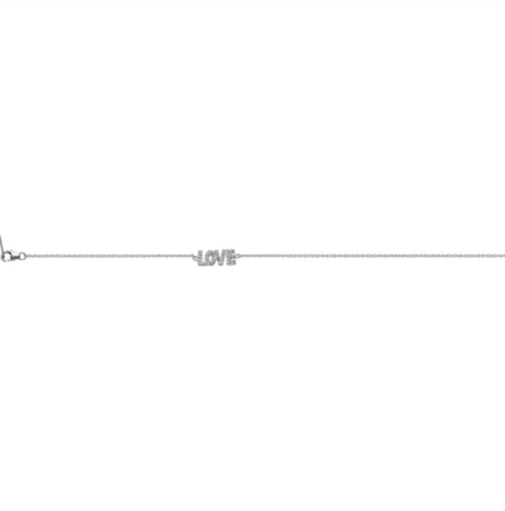 Zilveren Armband LOVE Wit CZ 17+3CM rhodium New Bling-7