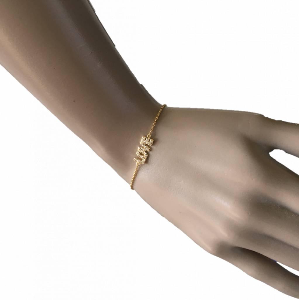 Zilveren Armband LOVE Wit CZ 17+3CM rhodium New Bling-3