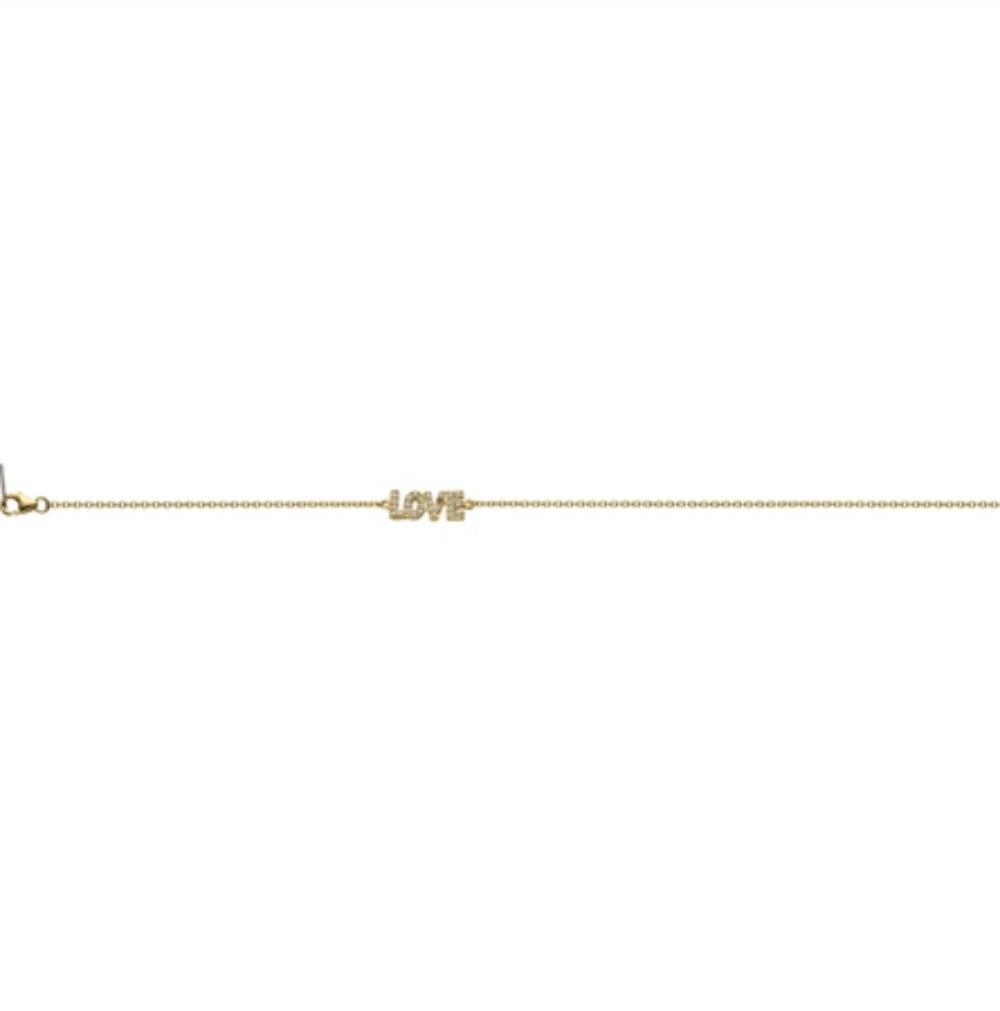 Zilveren Armband LOVE Wit CZ 17+3CM rhodium New Bling-6