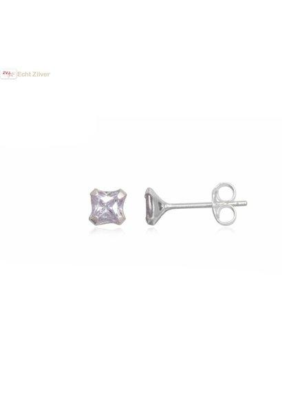 Zilveren kleine vierkante oorstekers wit lila zirkonia