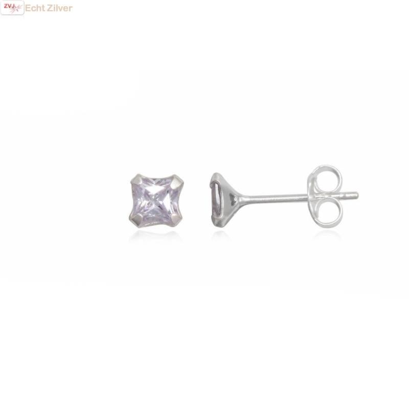 Zilveren kleine vierkante oorstekers wit lila zirkonia-1