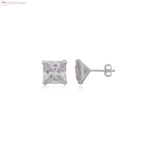 ZilverVoorJou Zilveren grote witte vierkante zirkonia stekers