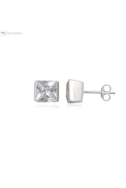 Zilveren strakke vierkante witte zirkonia oorbellen