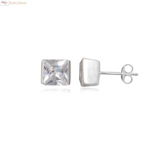 ZilverVoorJou Zilveren strakke vierkante witte zirkonia oorbellen
