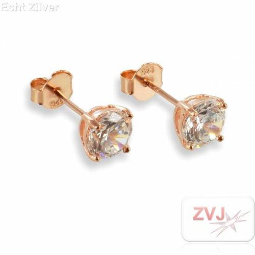 ZilverVoorJou Zilveren kleine 6mm rosé goud vergulde oorstekers met witte zirkonia