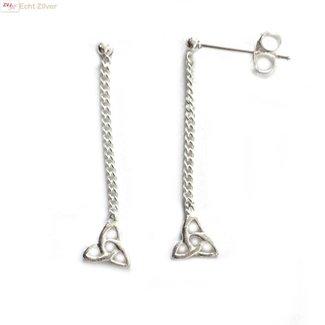 ZilverVoorJou Zilveren keltische knoop oorstekers, hangers