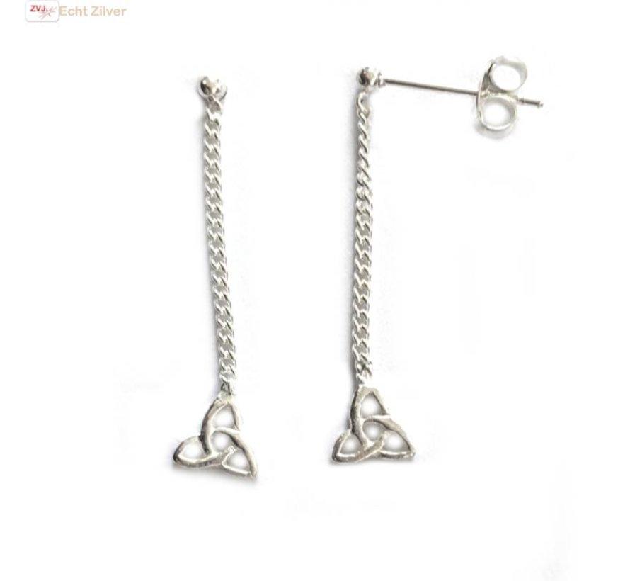 Zilveren keltische knoop oorstekers, hangers