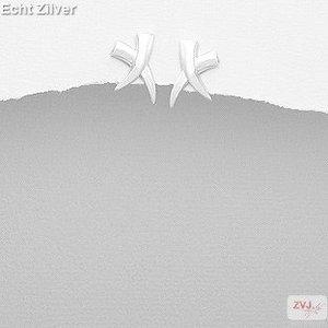 ZilverVoorJou Zilveren moderne cross kruis X oorstekers