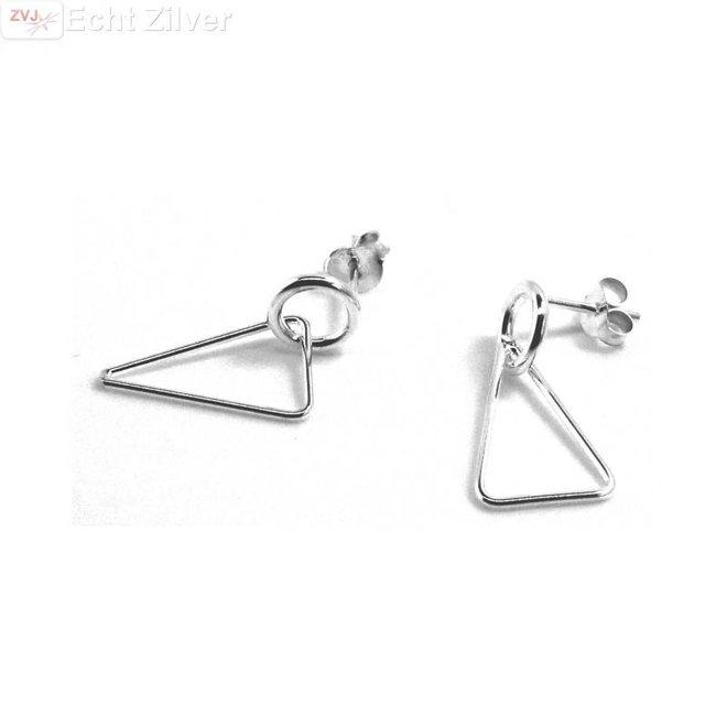 Zilveren cirkel driehoek oorstekers hangers