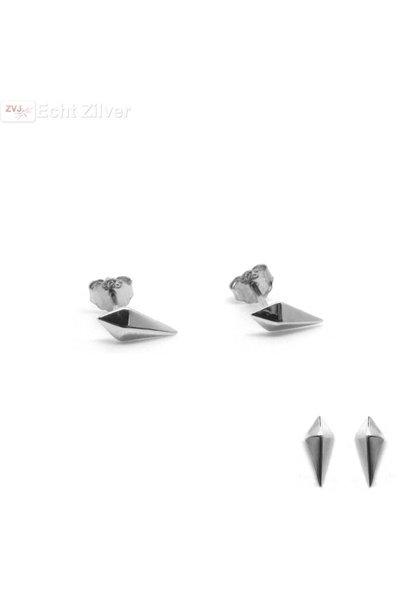 Zilveren mini ruit oorstekers