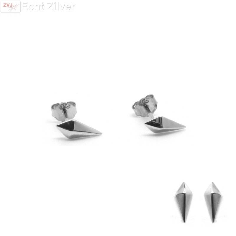 Zilveren mini ruit oorstekers-1