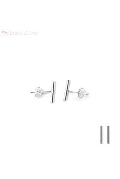 Zilveren strakke staaf oorstekers