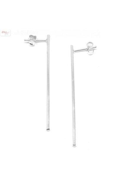 Zilveren lange staaf bar oorstekers