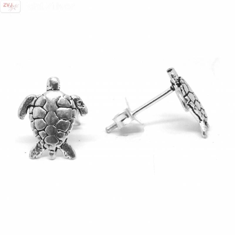 Zilveren turtle schildpad oorstekers-1