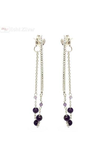 Zilveren paarse amethist kralen oorstekers hangers