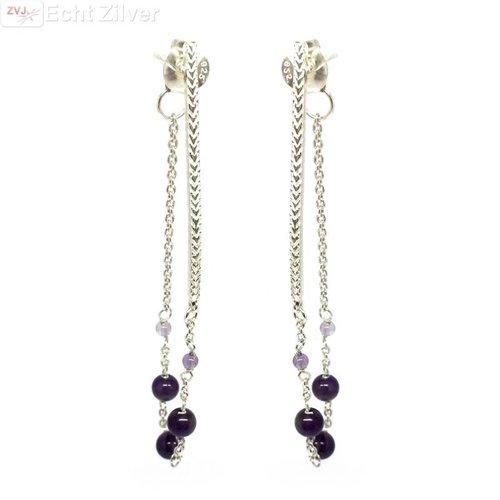ZilverVoorJou Zilveren paarse amethist kralen oorstekers hangers