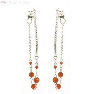ZilverVoorJou Zilveren oranje carnelian kralen oorstekers hangers