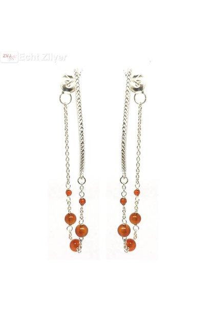 Zilveren oranje carnelian kralen oorstekers hangers