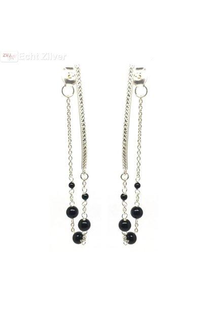 Zilveren zwarte onyx kralen oorstekers hangers