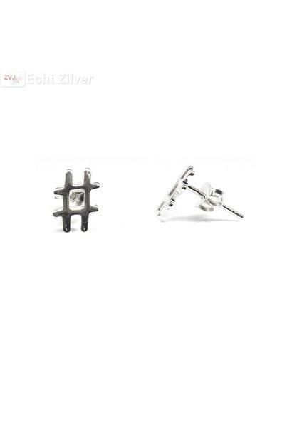 Zilveren hashtag hekje oorstekers