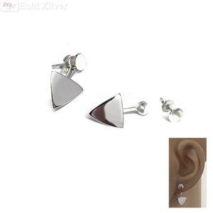 ZilverVoorJou Zilveren cirkel triangel oorstekers