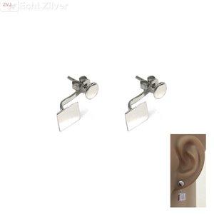 ZilverVoorJou Zilveren vierkant en cirkel oorstekers