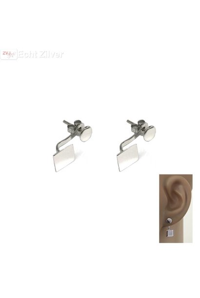 Zilveren vierkant en cirkel oorstekers