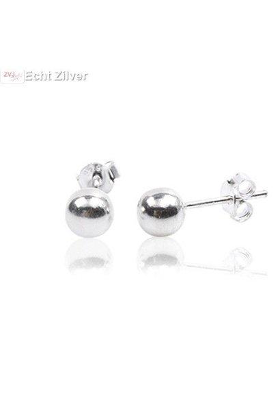 Zilveren oorknoppen 6 mm bal