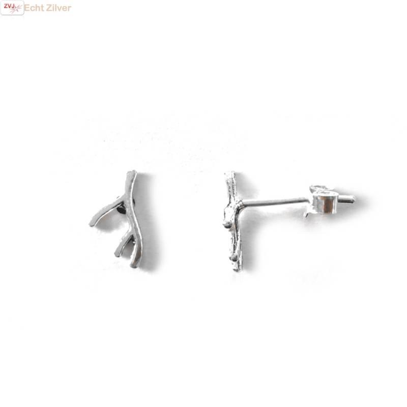 Zilveren mini takje oorstekers-1