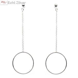 ZilverVoorJou Zilveren ketting cirkel bal oorbellen hangers