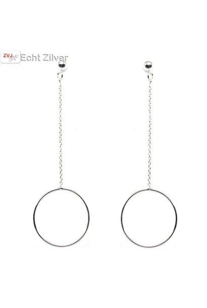 Zilveren ketting cirkel bal oorbellen hangers