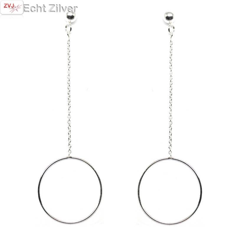 Zilveren ketting cirkel bal oorbellen hangers-1