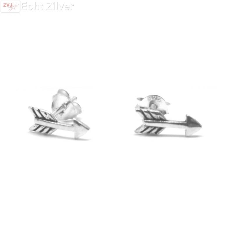 Zilveren kleine pijltjes arrow oorstekers-1