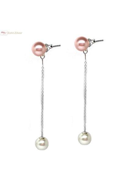 Zilveren roze wit parel ketting oorstekers