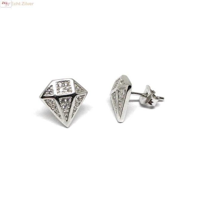 Zilveren diamant oorstekers
